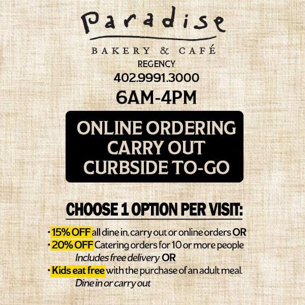 Picture of Paradise Bakery offers online ordering, takeout and curbside delivery