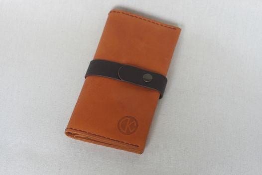 """Оранжево-коричневое портмоне из натуральной кожи, модель """"EXP"""""""