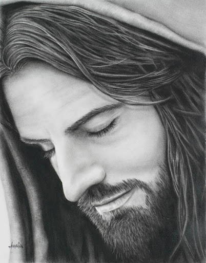 Charcoal drawing of Jesus closeing His eyes in prayer.
