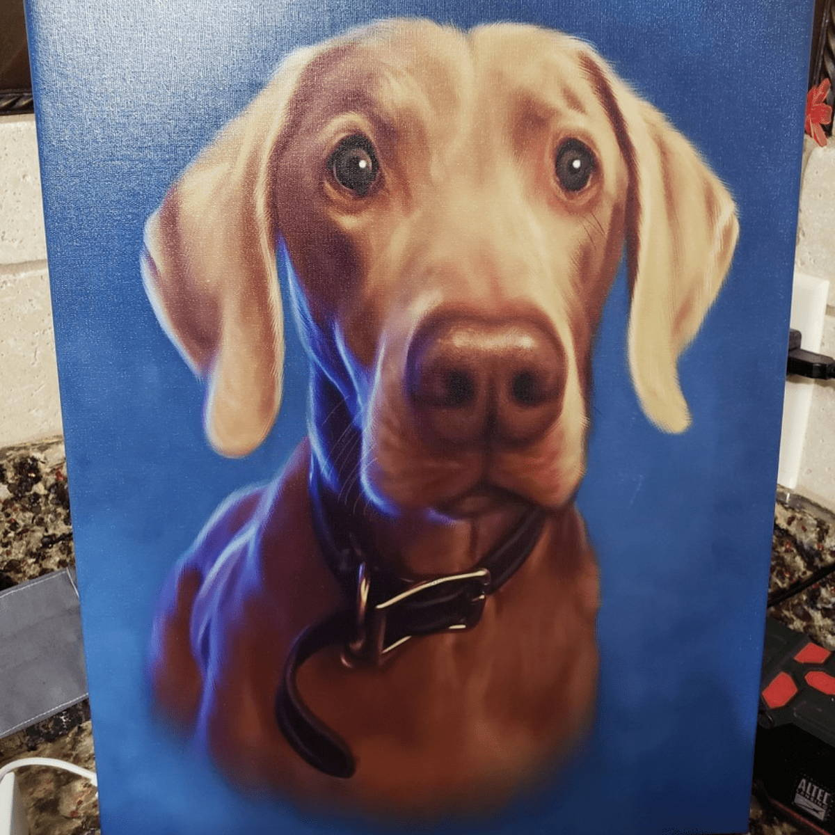 Hand painted picture of dog on blue background