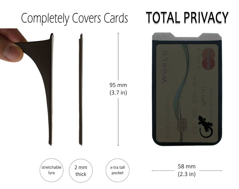 phone card holder dimensions are 95mm (3.7 inces) by 58mm (2.3 inches) total privacy as it completely covers your credit cards and cash, it is a stretchable pocket.