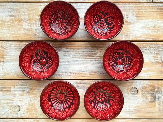 Набор красных керамических соусниц (6 шт)