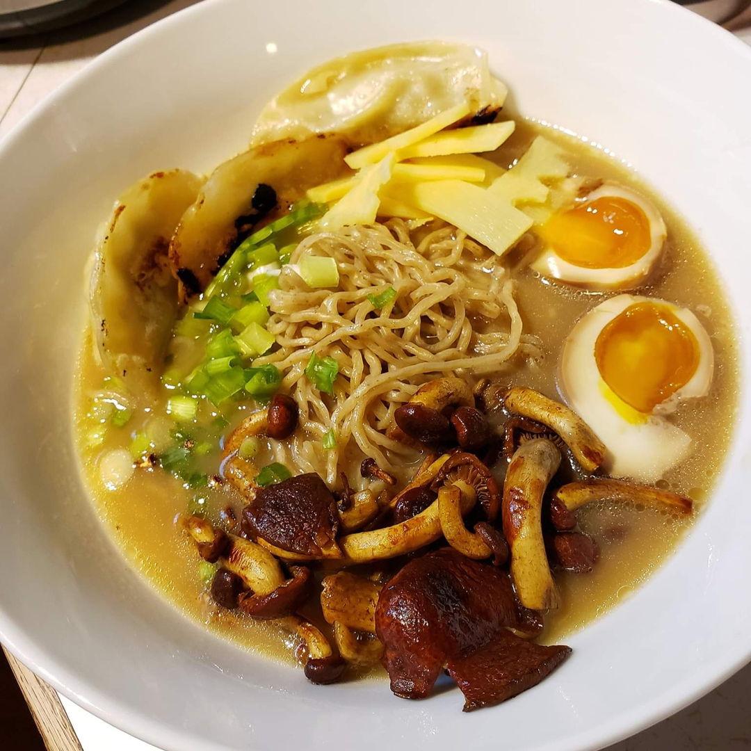 Homemade Tonkatsu Ramen with Chicken Potsticker, Sauted Chesnut Mushrooms, Bamboo Shoots, Soy Egg and  Tonkatsu broth