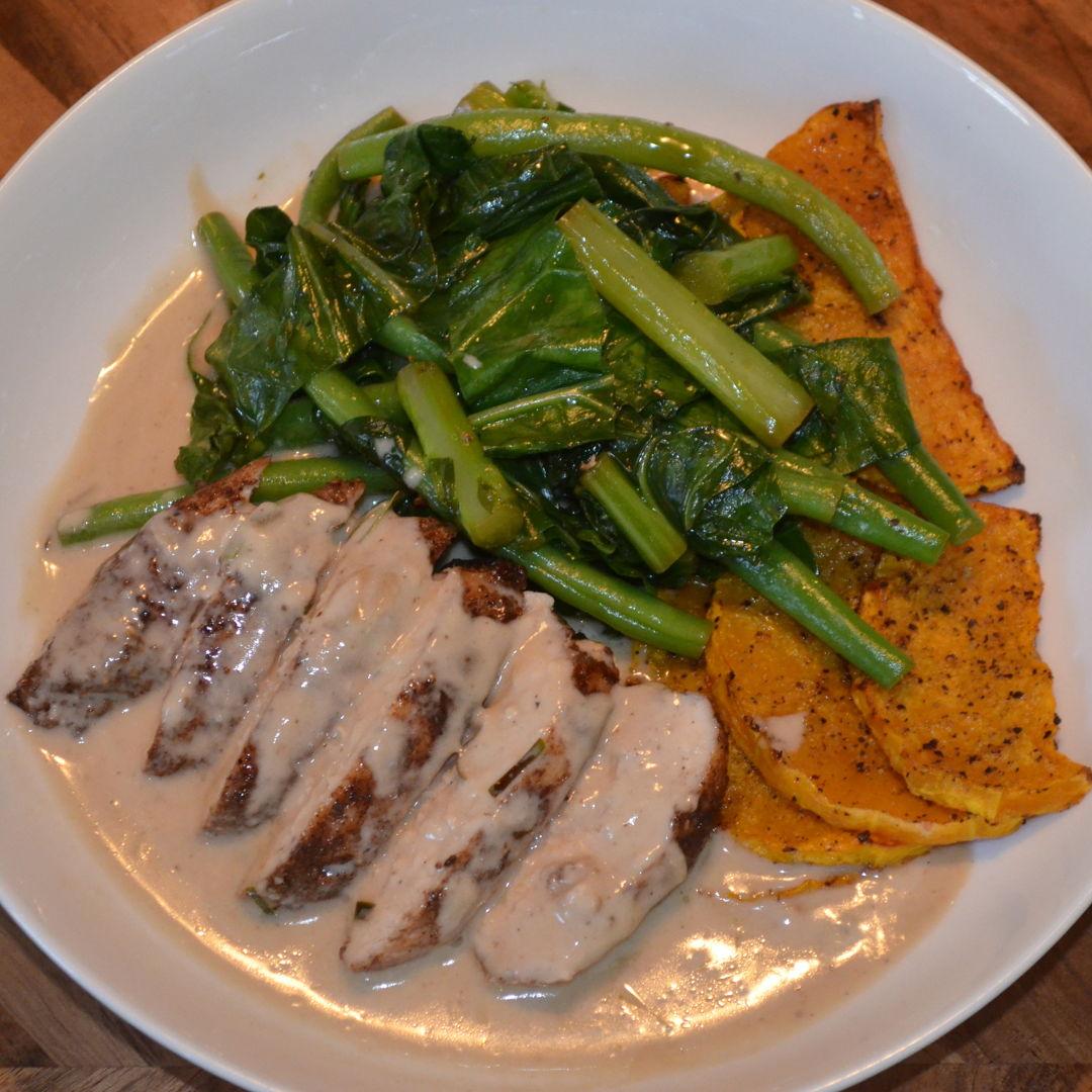 Date: 3 Jun 2020 (Wed) 136th Main: Southeast Asian Spiced Chicken with Roasted Pumpkin & Coconut-Kaffir Lime Sauce [376] [164.4%] [Score: 10.0] Cuisine: Southeast Asian Dish Type: Main