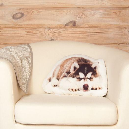 Собака. Подушка  Хаски – льняная декоративная подушка в виде спящего щенка хаски