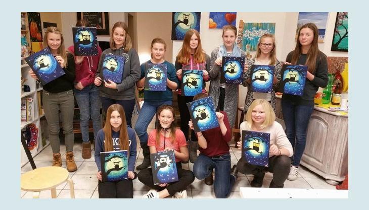 painting partys kinder mit eigenem bild
