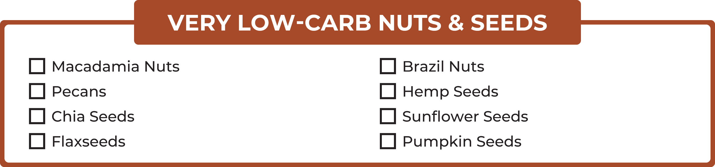 List of very low-carb nuts and seeds