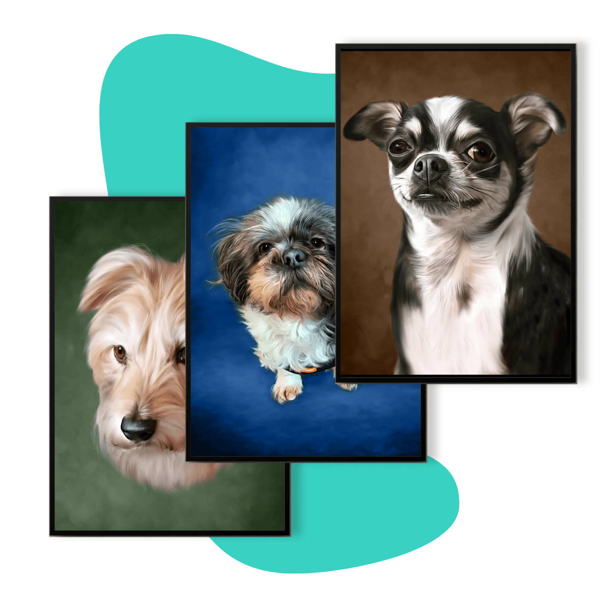 Three picture frames with dogs