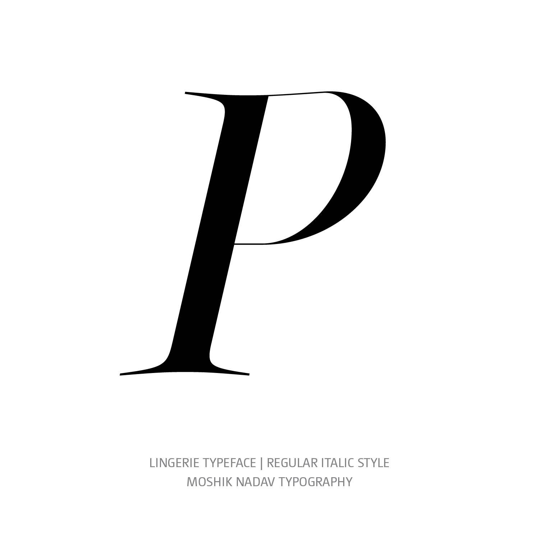 Lingerie Typeface Regular Italic P- Fashion fonts by Moshik Nadav Typography