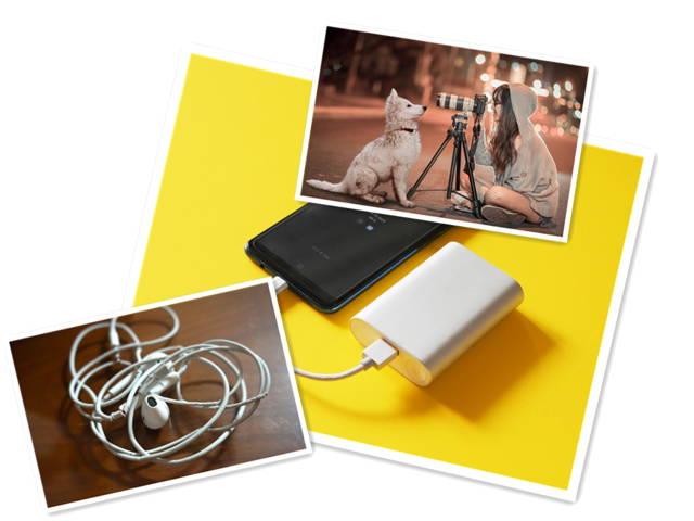 power bank, earphone and tripod