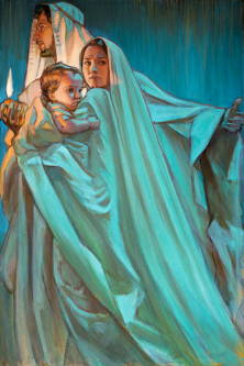 Painting of Joseph holding a candle and holding a protective arm around Mrary and infant Jesus as they flee in the darkness.