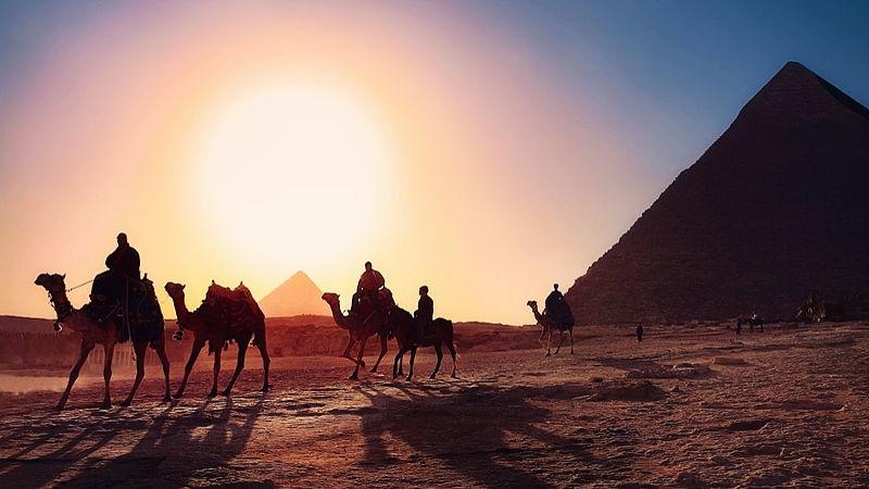 Pyramids at sunset, Egypt