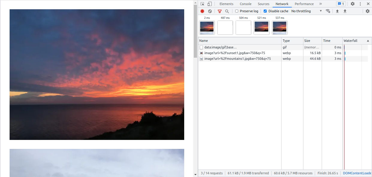 Lazy loading with Next.js in Chrome Dev Tools