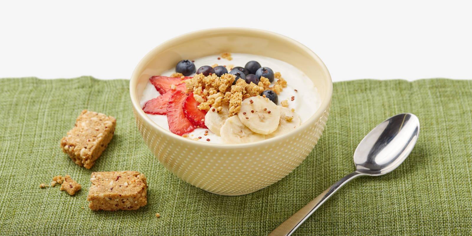 yogurt in a bowl with a ZENB bar