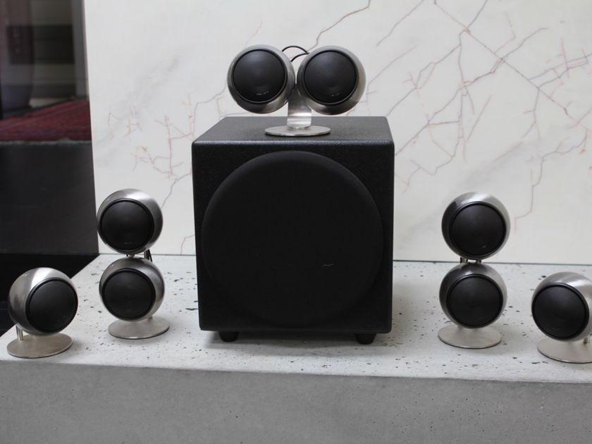 Orb Audio Surround Sound Speaker + Subwoofer 5.1 or 7.1 Array in Hand-Polished Steel Finish
