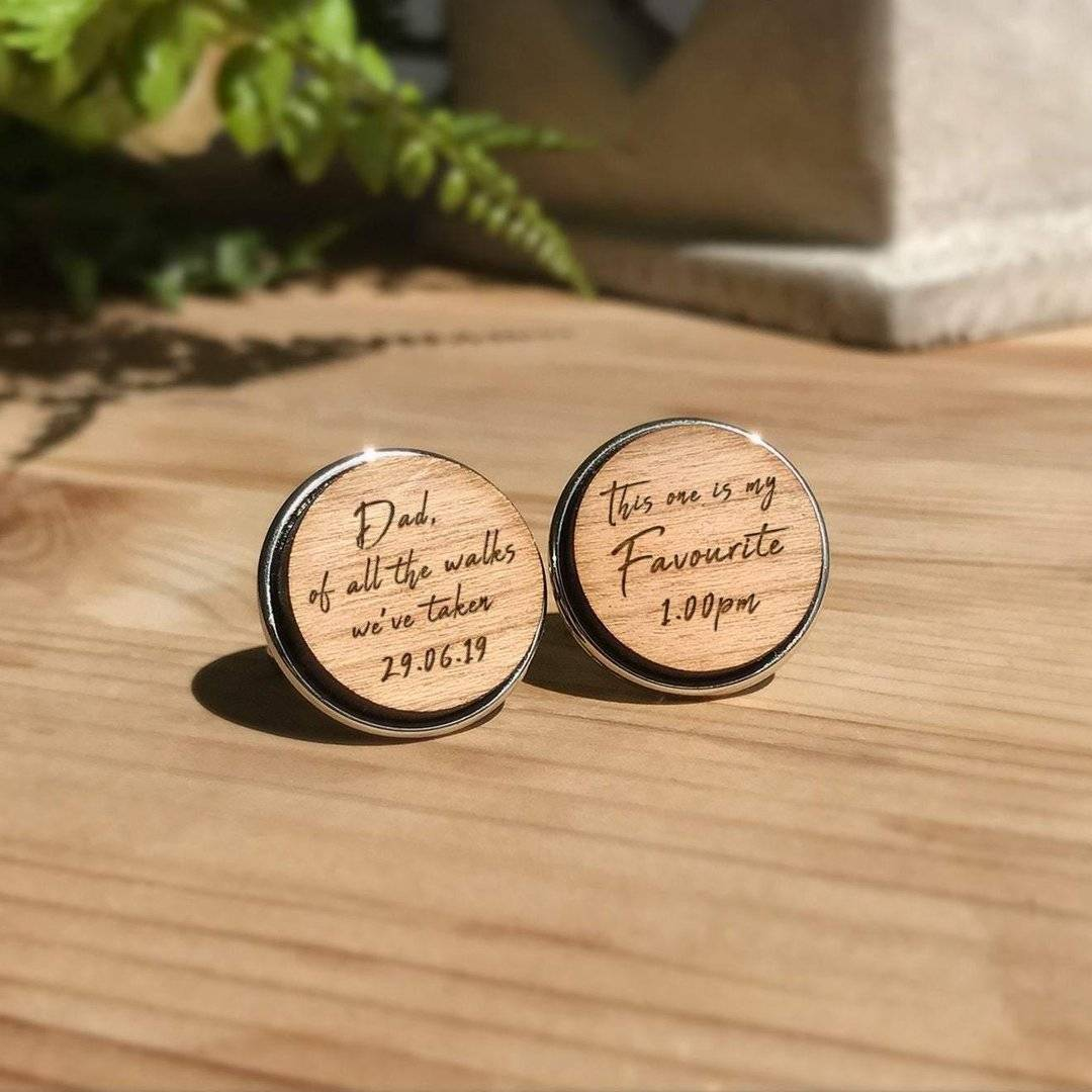 Engraved Wood Cufflinks