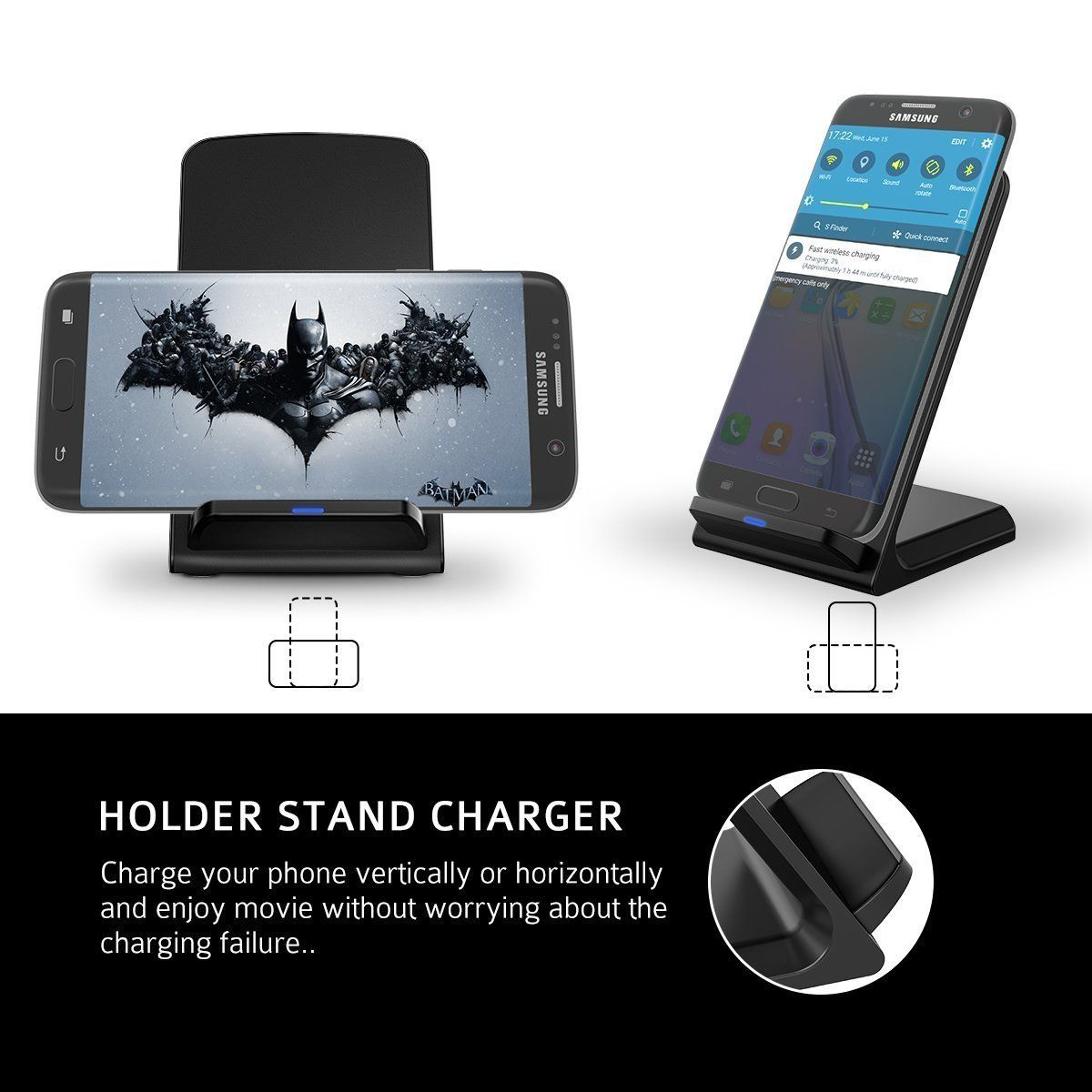 fast wireless charger holife qi ladeger t charger induktive ladestation kabelloses. Black Bedroom Furniture Sets. Home Design Ideas