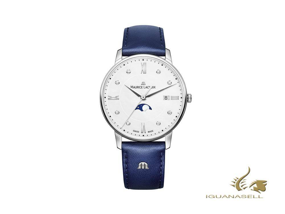 Maurice Lacroix Eliros Ladies Moonphase watch, blue leather strap