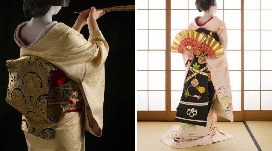 Geisha wearing obi and kimono and maiko wearing obi and kimono