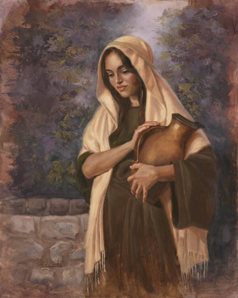A painting of the woman at the well holding a pitcher.