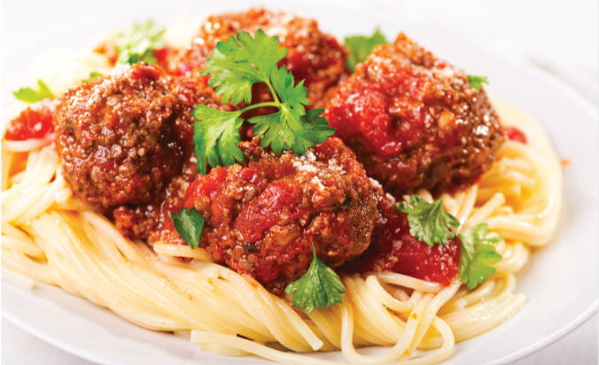 Spaghetti and meatballs, example of a sensible meal