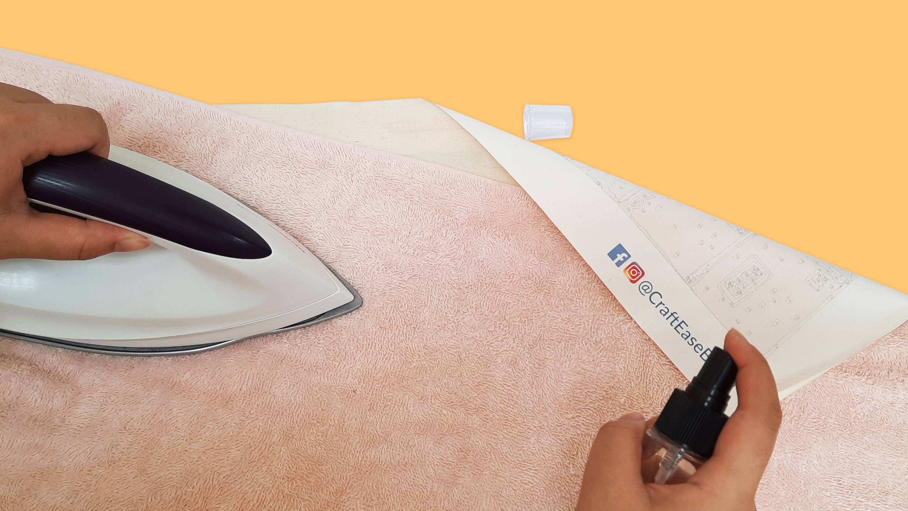 Iron the back side of your canvas to get rid of creases and wrinkles.