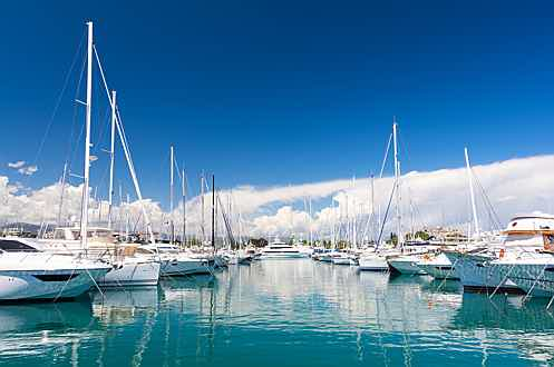 Luxembourg - View of yachts in Antibes marina