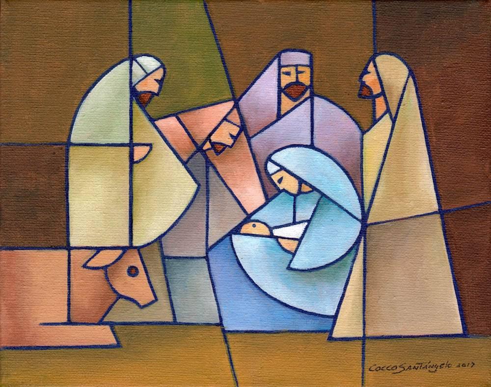 Modern LDS art painting of the Nativity scene.