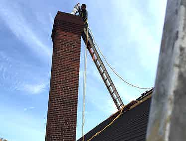 Chimney work getting done on a home