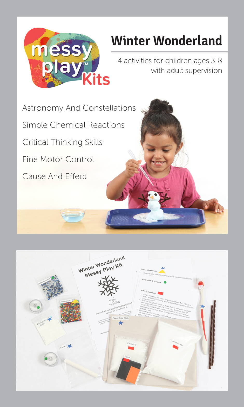 Winter Wonderland Messy Play Kit contains 4 activities that teach astronomy and constellations, simple chemical reactions, critical thinking skills, fine motor control, and cause and effect.