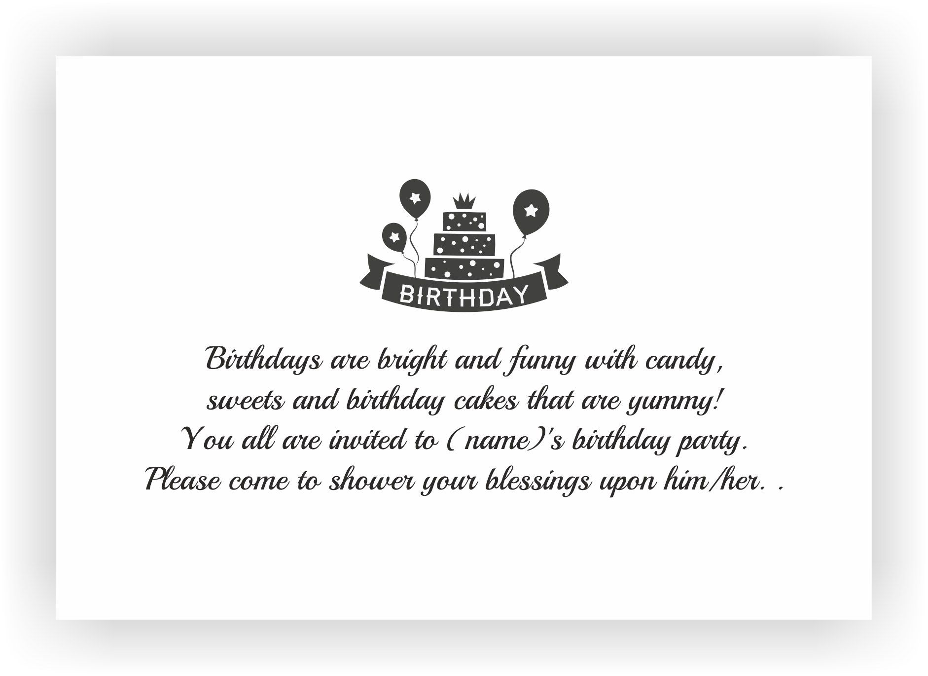 Birthday Party Invite Messages | Kids birthday Invites – CHOCOCRAFT