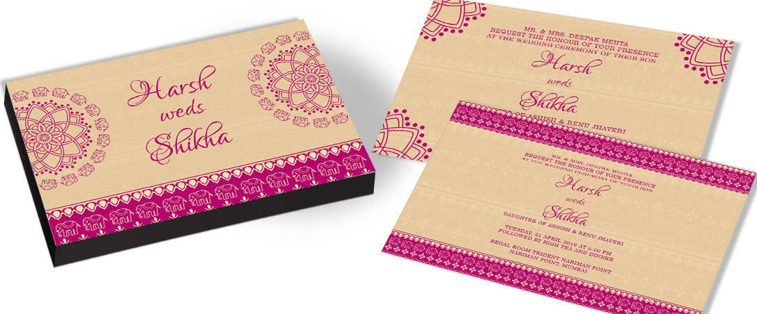 Elegant Marriage Invite with Elephant Theme