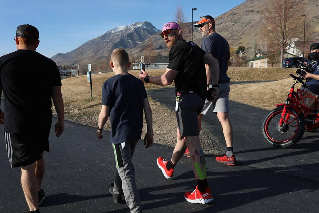 James walking with kid