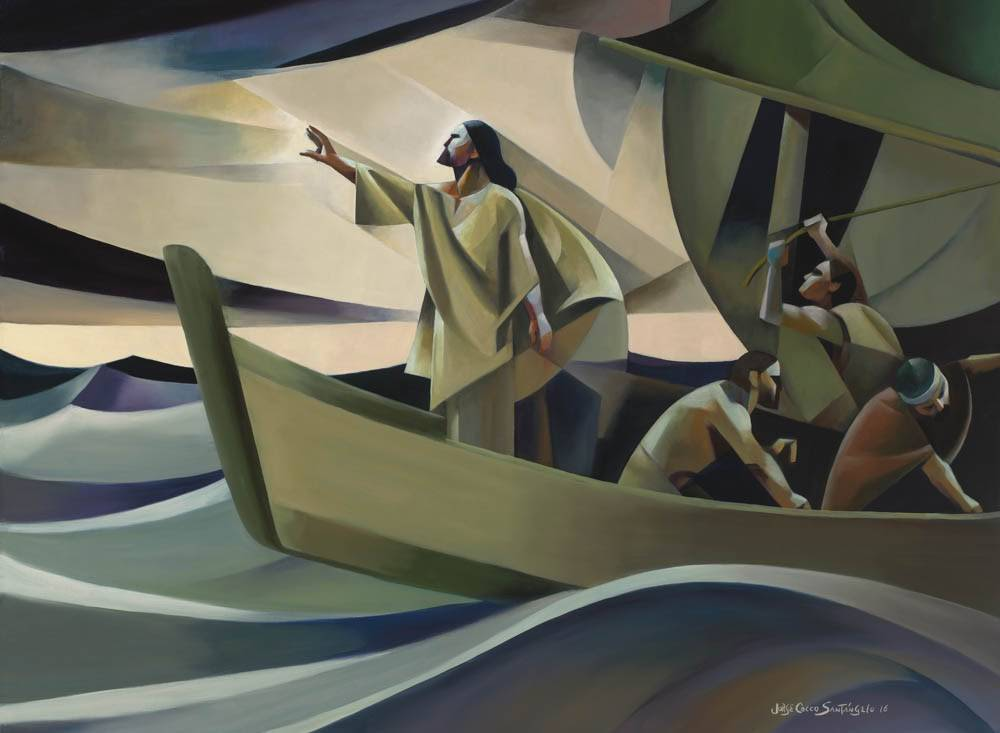 Modern painting of the biblical story when Jesus calms the storm.