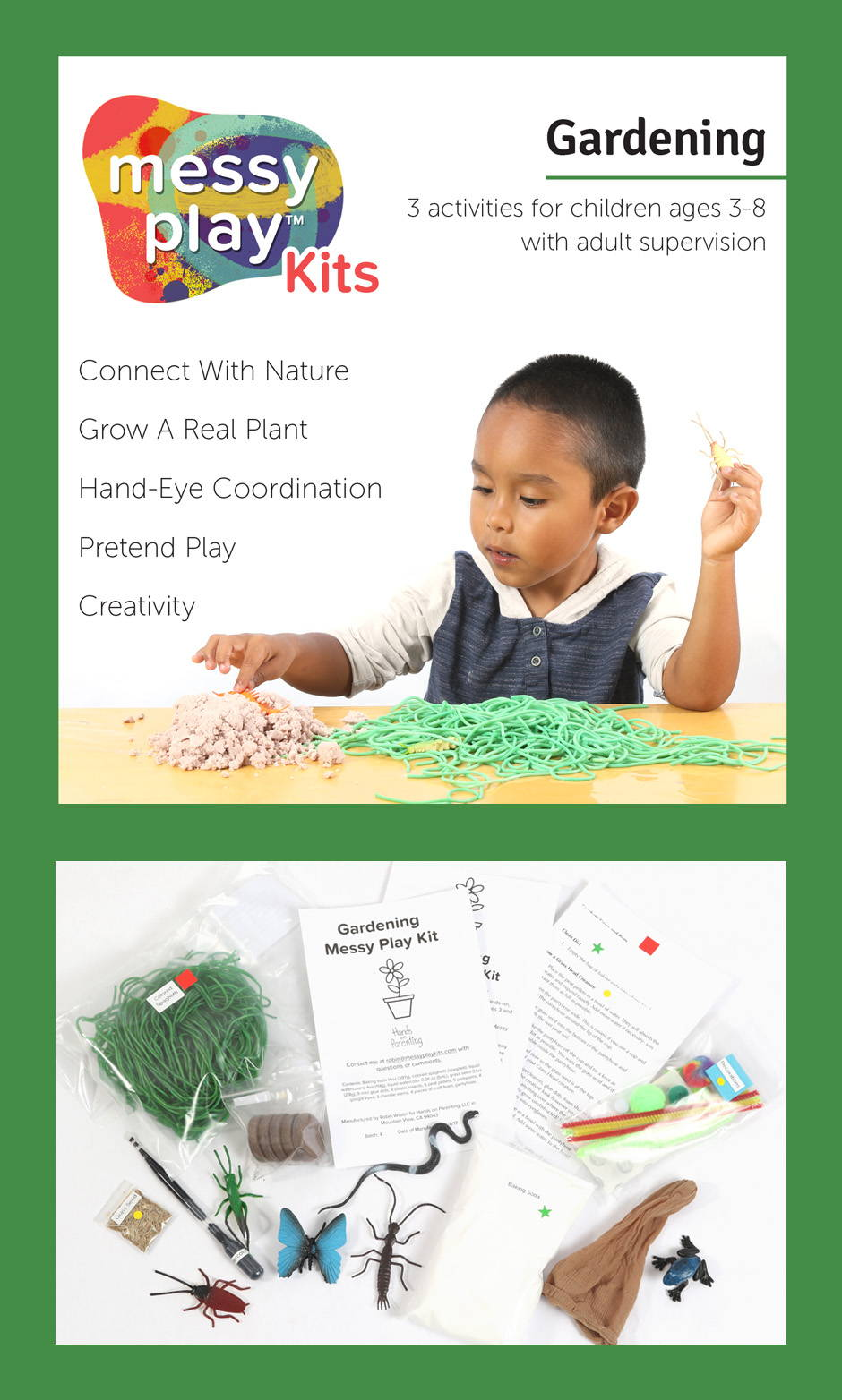 Gardening Messy Play Kit contains 3 activities that teach connection with nature, growing real plants, hand-eye coordination, pretend play, and creativity.