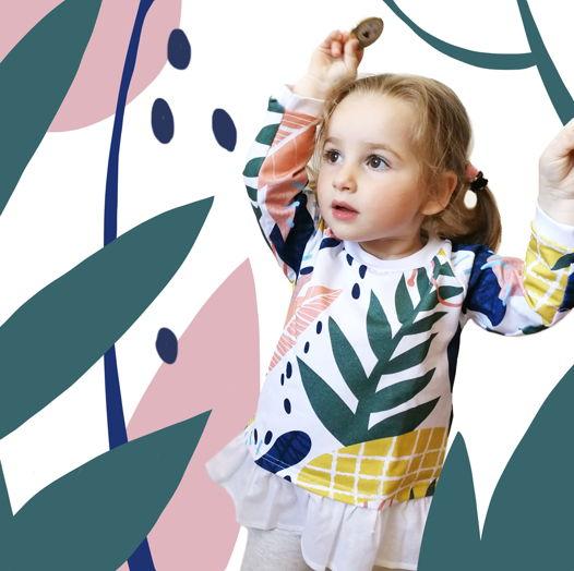 Детское свитшот-платье с псевдоананасами