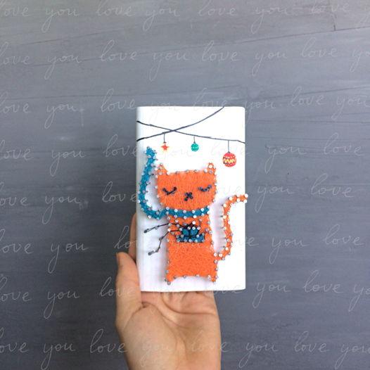Рождественский котик string art Christmas cat
