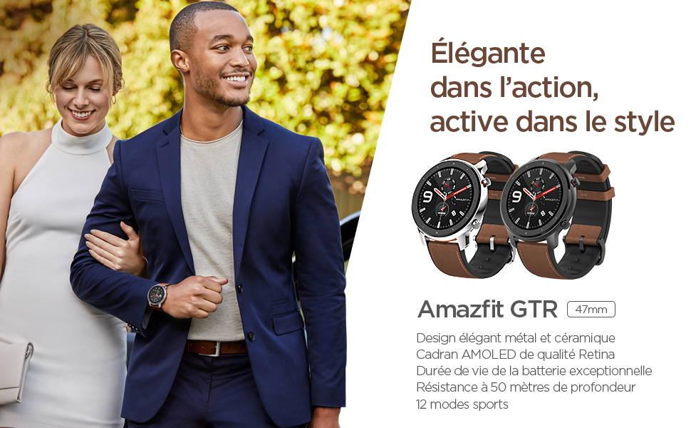 Amazfit GTR 47 mm - Élégante dans l'action, active dans le style - Design élégant métal et céramique | Cadran AMOLED de qualité Retina  Durée de vie de la batterie exceptionnelle  Résistance à 50 mètres de profondeur | 12 modes sports