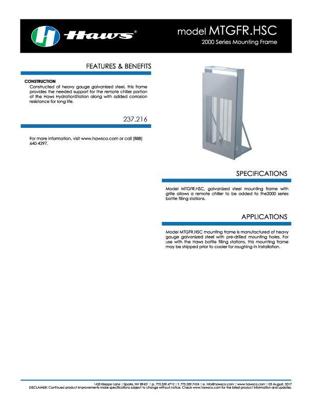 Hydration by Haws™ Model MTGFR.HSC Spec Sheet