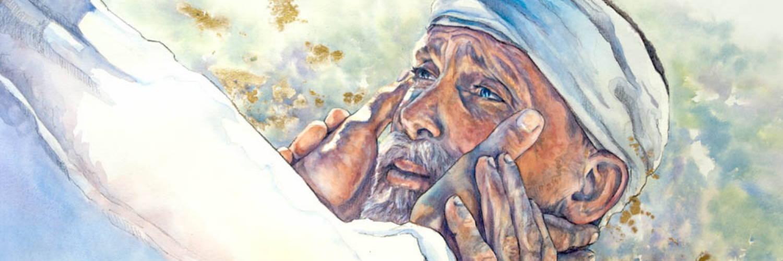 Painting of Jesus healing a blind man.