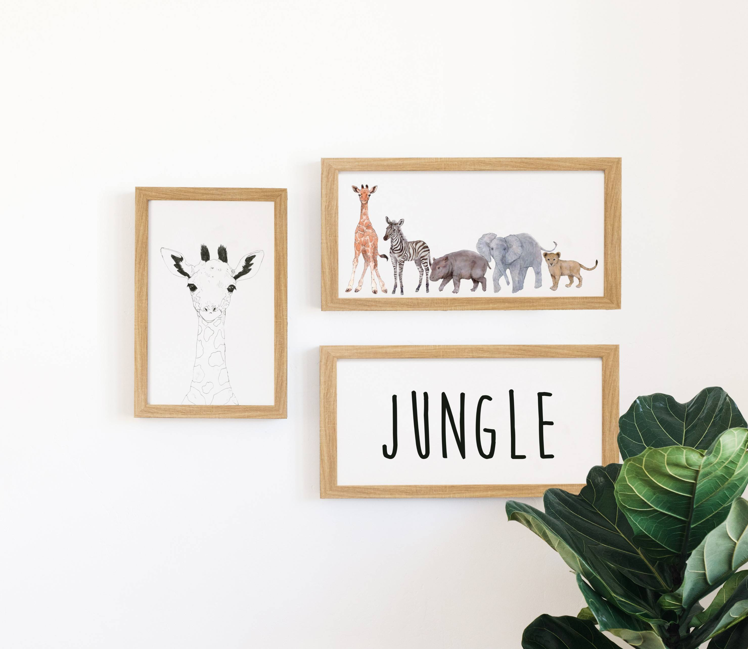 jungle animals wall art in a home