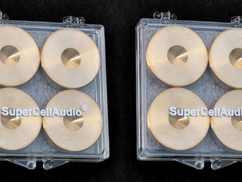 SuperCellAudio ® FSD1BR8 Brass Floor Protectors / Savers set of 8