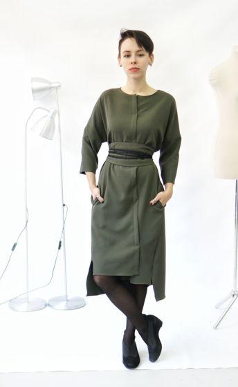 платье кимоно   хаки