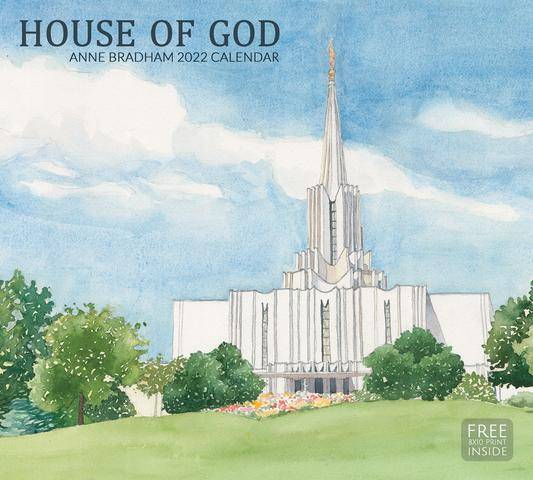 2022 LDS Calendar featuring a painting of the Jordan River Temple.