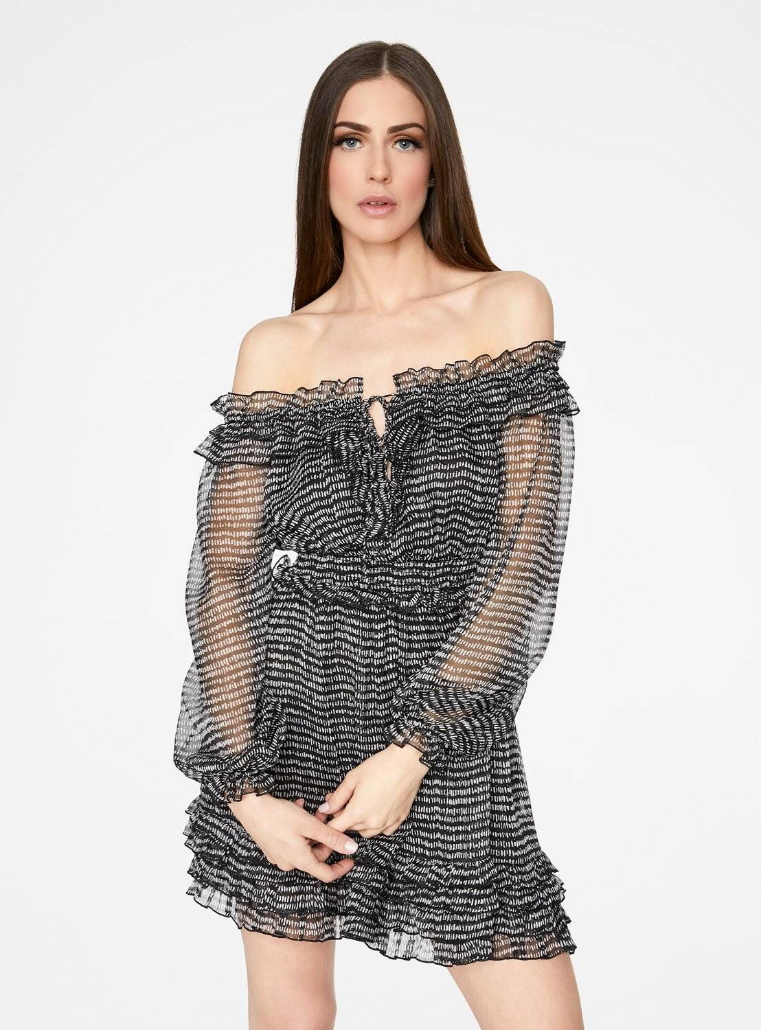 Black and White Long Sleeve Off-the-Shoulder Ruffle Dress