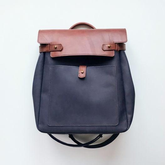 Кожаный рюкзак-сумка Square Blue/Cognac