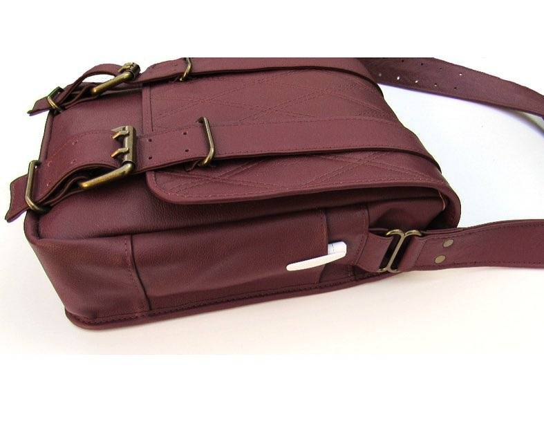 Custom burgundy leather messenger bag