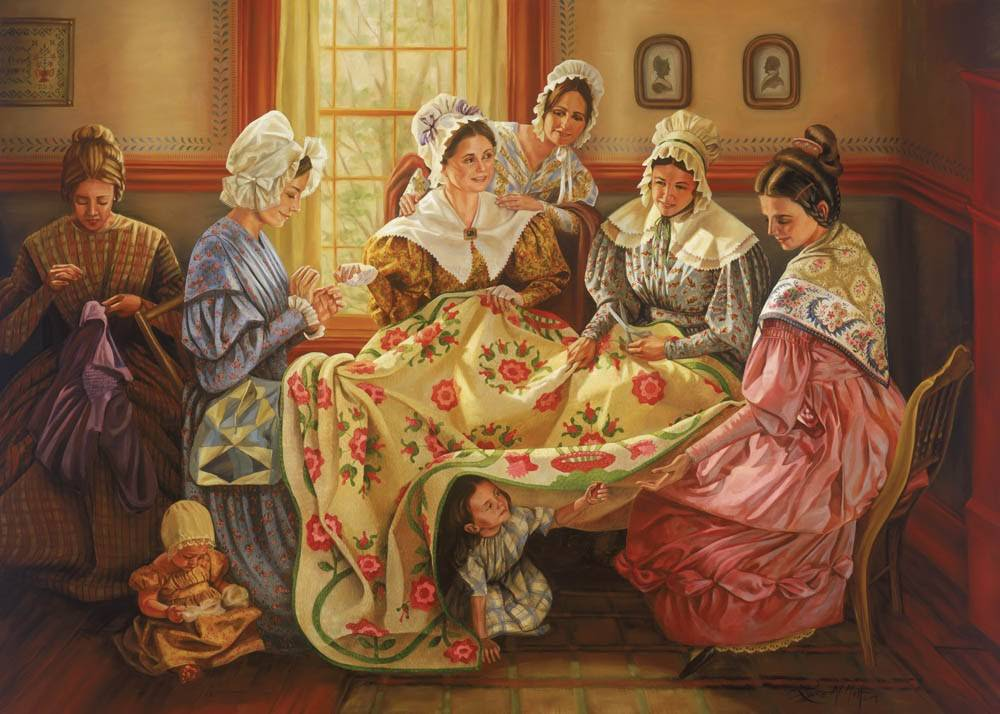 LDS art painting of pioneer women cheerfully working on a quilt together.