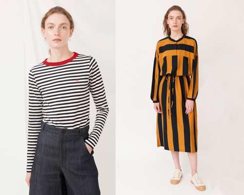 Woman wearing Beaumont organic cotton long sleeve striped tee with red ringneck and woman wearing ankle length striped organic cotton jersey dress