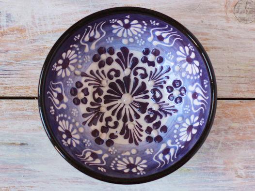 Маленькая керамическая пиала (фиолетовая с белым)